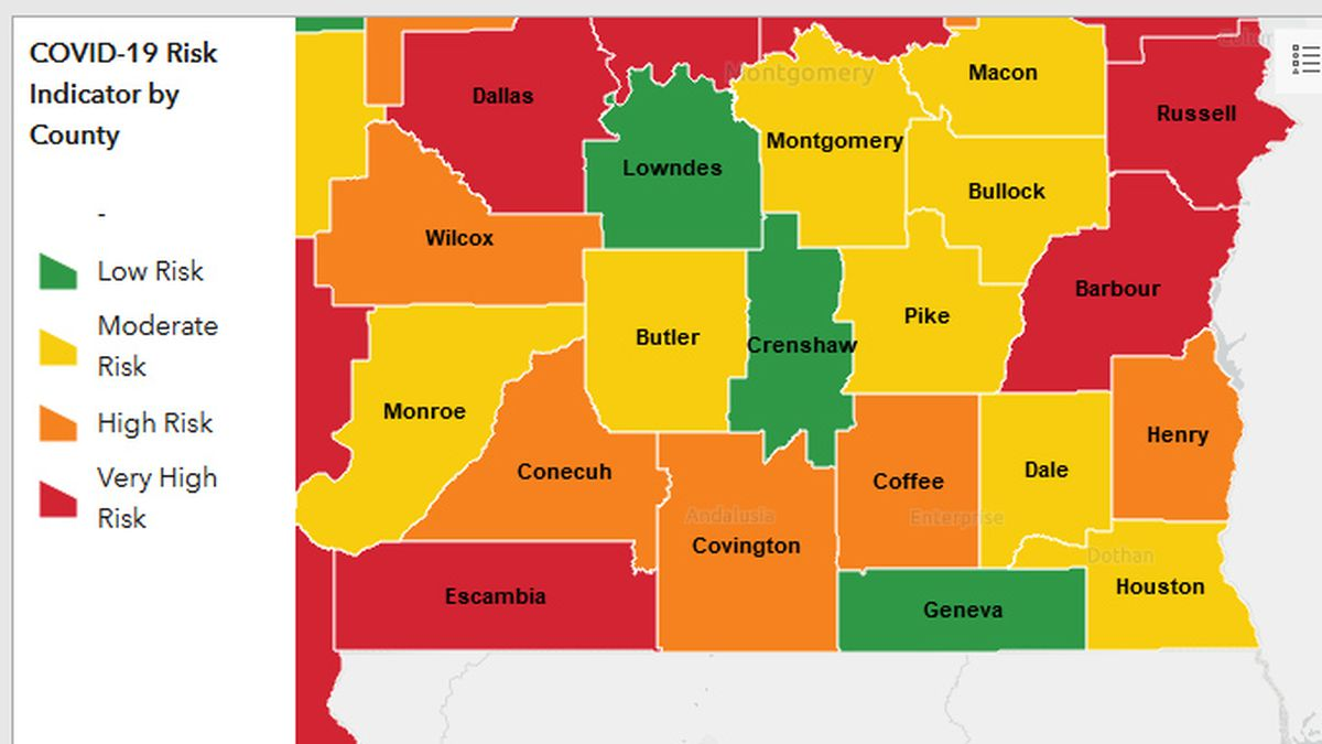 ADPH has released a color-coded map to show where the coronavirus is spreading in the state.  This screen cap was taken July 2, 2020 at 10:00 AM CT.