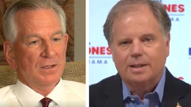 Tommy Tuberville (L) and U.S. Senator Doug Jones.