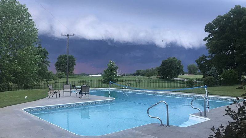 A shelf cloud from a dying complex of thunderstorms approaches the Linden area Thursday...