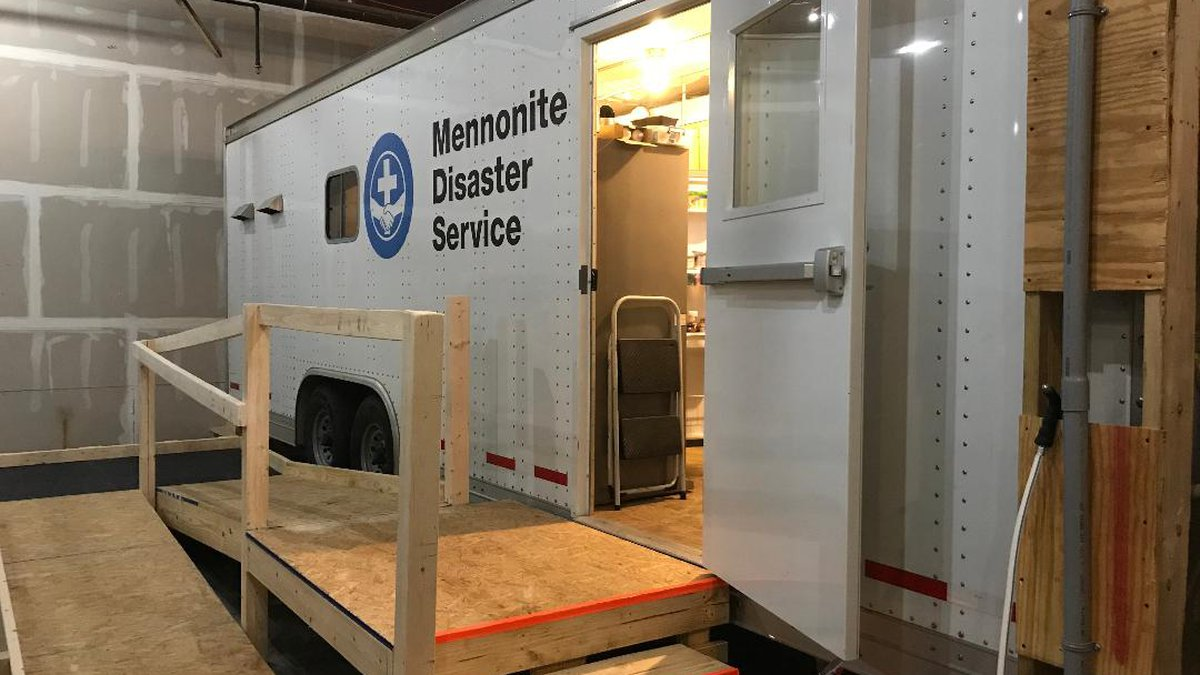 The trailer that the meals are prepared in for the Mennonite Disaster Service. (Source: WTVY)