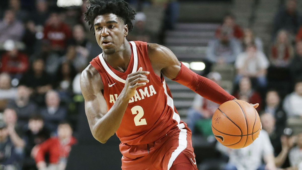FILE - In this Jan. 22, 2020, file photo, Alabama guard Kira Lewis Jr. plays against Vanderbilt...
