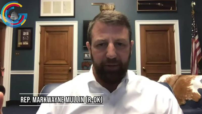 """Rep. Markwayne Mullin (R-OK) says he is on his way home after """"helping get Americans out of..."""