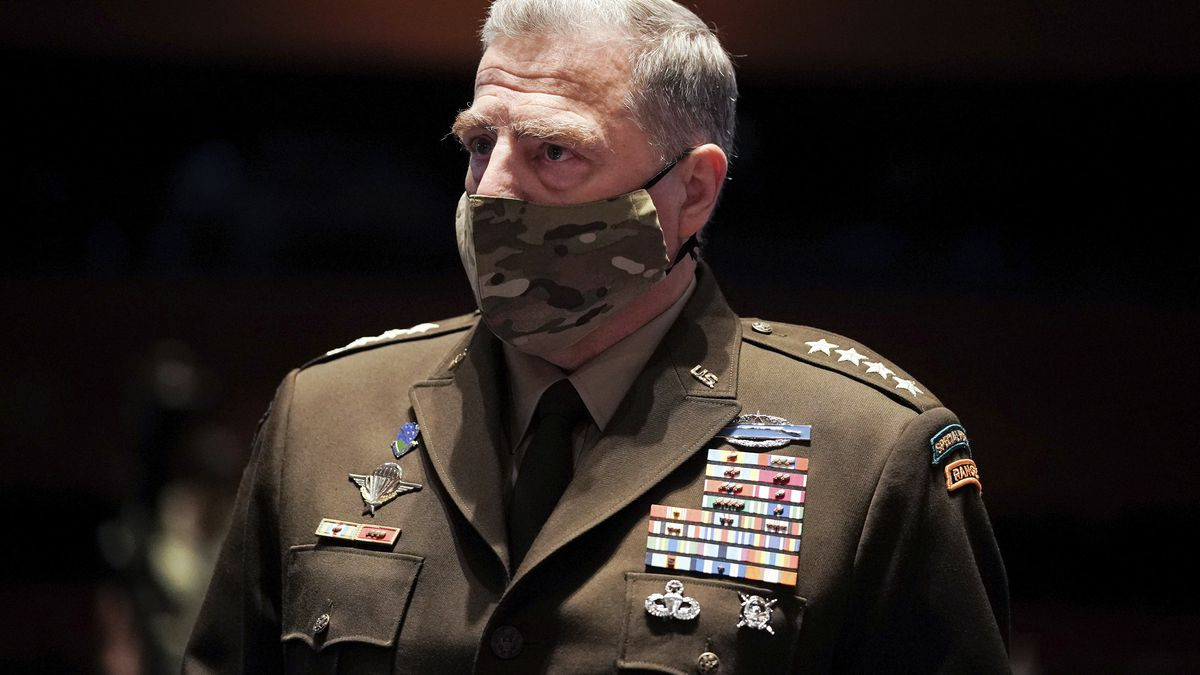 Chairman of the Joint Chiefs of Staff Gen. Mark Milley arrives early for a House Armed Services Committee hearing on Thursday, July 9, 2020, on Capitol Hill in Washington.