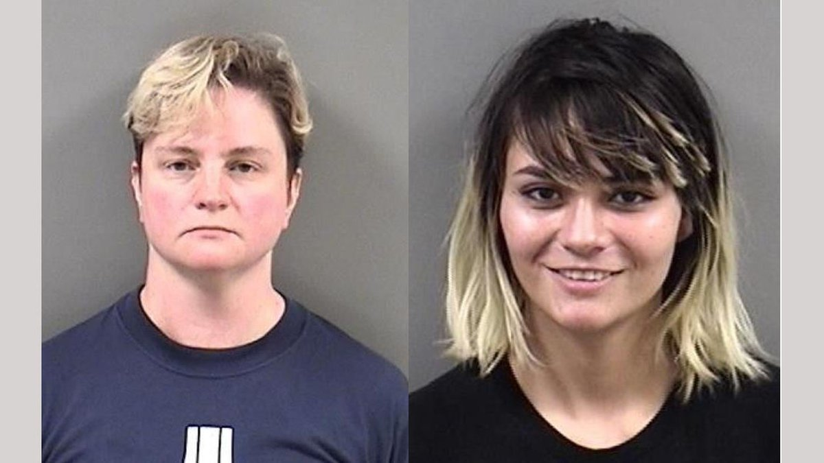 Sarah Roark, 44, left, arrested by the Berkeley Police Department for  carrying a banned...