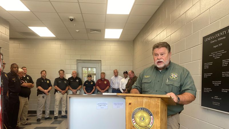 Geneva County Sheriff Tony Helms speaking at the press conference announcing 34 arrests in a...