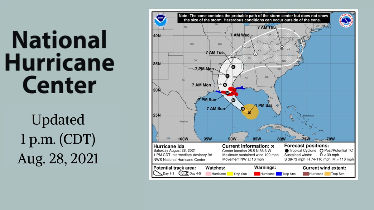 Latest track on Ida from the National Hurricane Center.