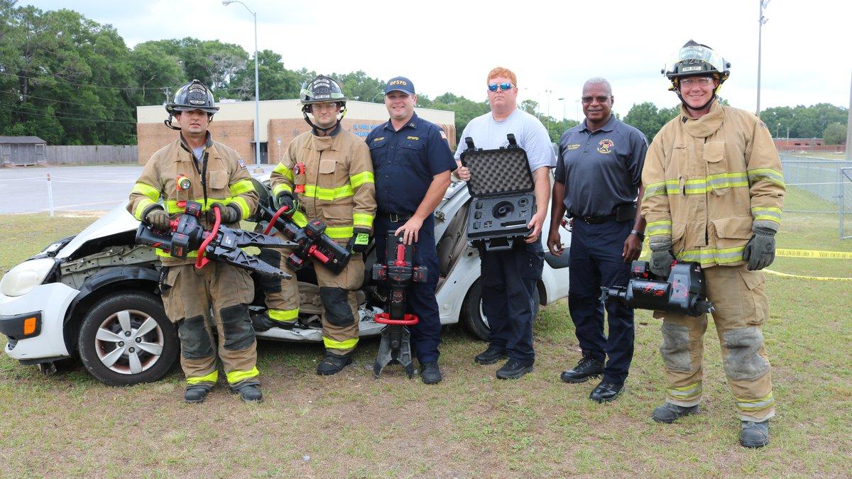 From left to right:  James Stultz, FF/EMT; Austin Arnold FF/EMT; Lieutenant Garrett Miller,...