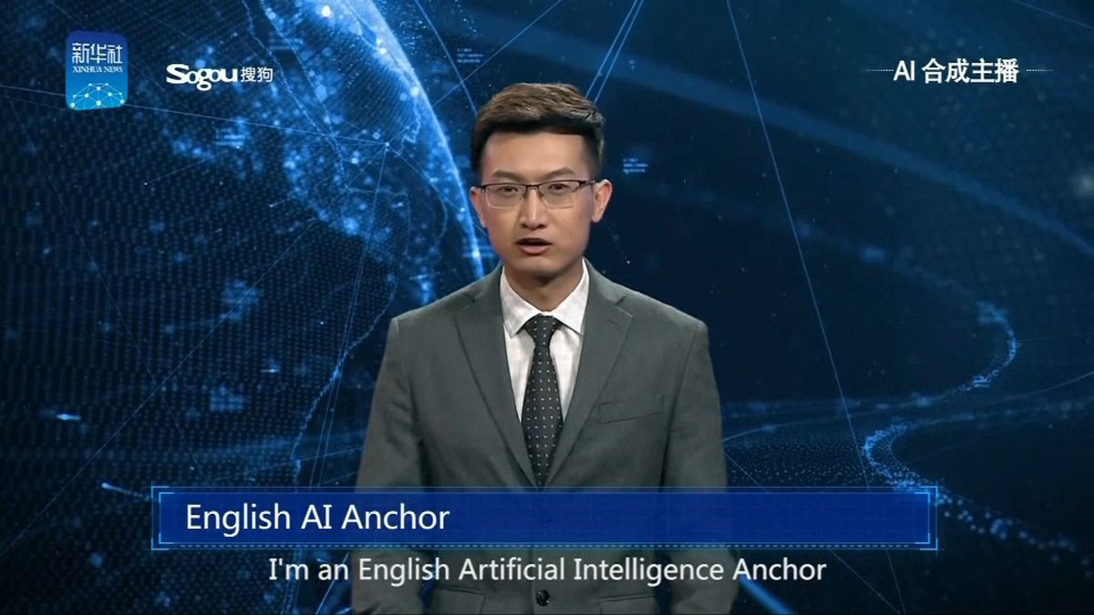 The news anchor, based on the latest AI technology, has a male image with a voice, facial expressions and actions of a real person. &amp;quot;He&amp;quot; learns from live broadcasting videos by himself and can read texts as naturally as a professional news anchor. <br />Courtesy: Xinhua News Agency / NBC News Channel