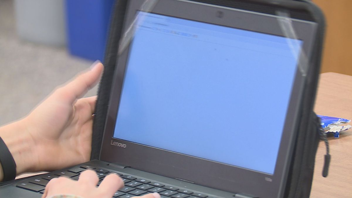 A student does his homework on one of the school provided take home laptops on Oct. 22, 2019. (WSAW Photo)