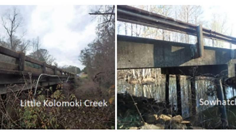The Little Kolomoki Creek bridge on First  Kolomoki Road and the Sowhatchee Creek bridge on...