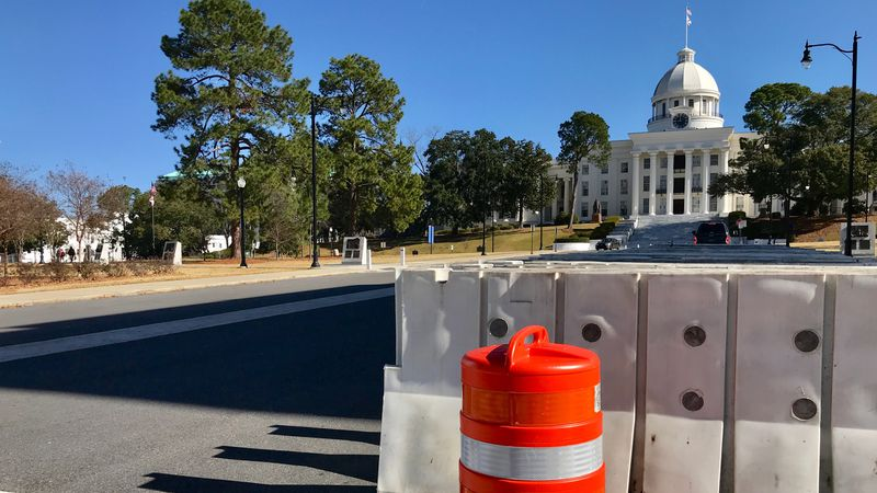 Concrete barricades and cameras are being put up outside the Alabama State Capitol.