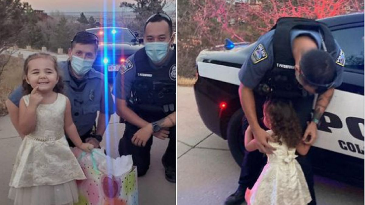 Officers surprised a little girl with birthday gifts after hers were stolen by an auto-theft...