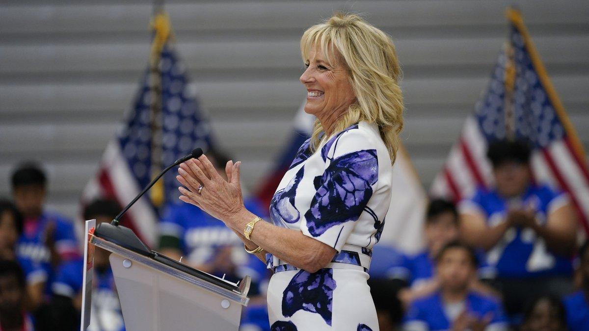 FILE - First lady Jill Biden speaks at Emmett J. Conrad High School in Dallas, Tuesday, June...
