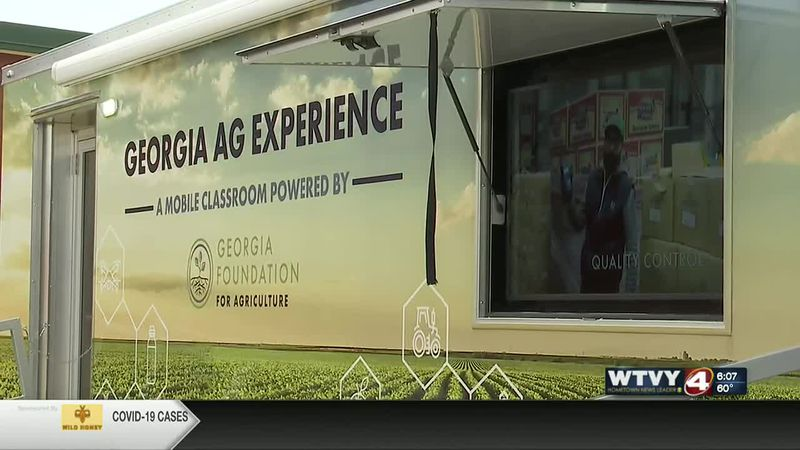 Video plays on the side of the mobile ag unit