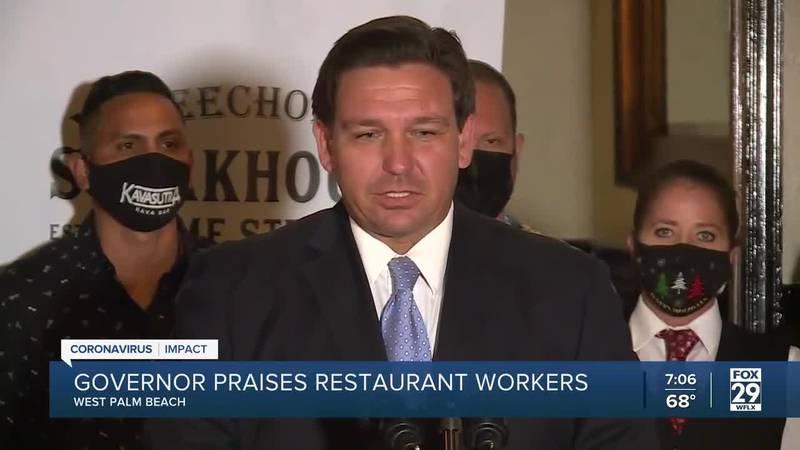 Gov. Ron DeSantis praises restaurant workers during West Palm visit