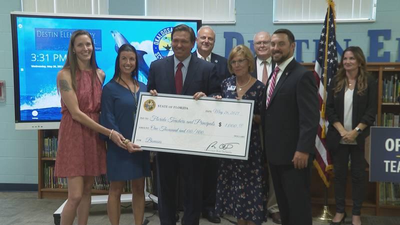 Governor Ron DeSantis announced $1,000 bonuses for educators.