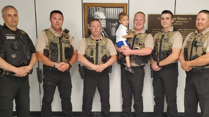 Deputies reunite with little boy they helped save from drowning
