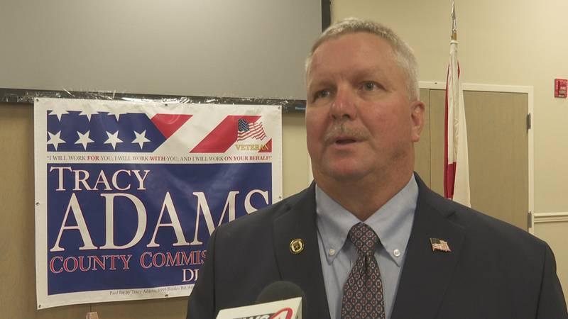 Tracy Adams announces his Houston County Commissioner candidacy on August 10, 2021.