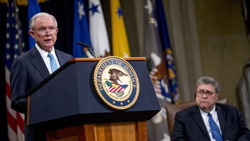 FILE - In this May 9, 2019 file photo, former Attorney General Jeff Sessions, accompanied by...