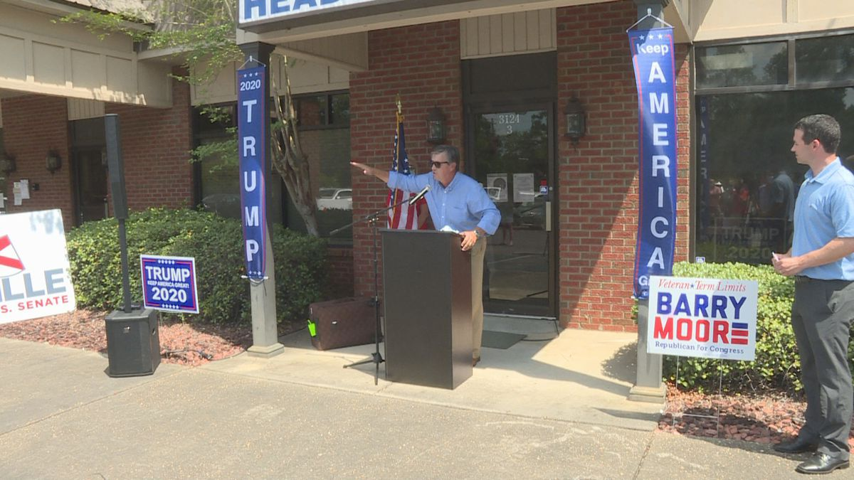 Barry Moore, congressional candidate, speaks in Dothan on August 6, 2020.  Seen at far right is Brandon Shoupe, Houston County Republican Executive Committee chairman.