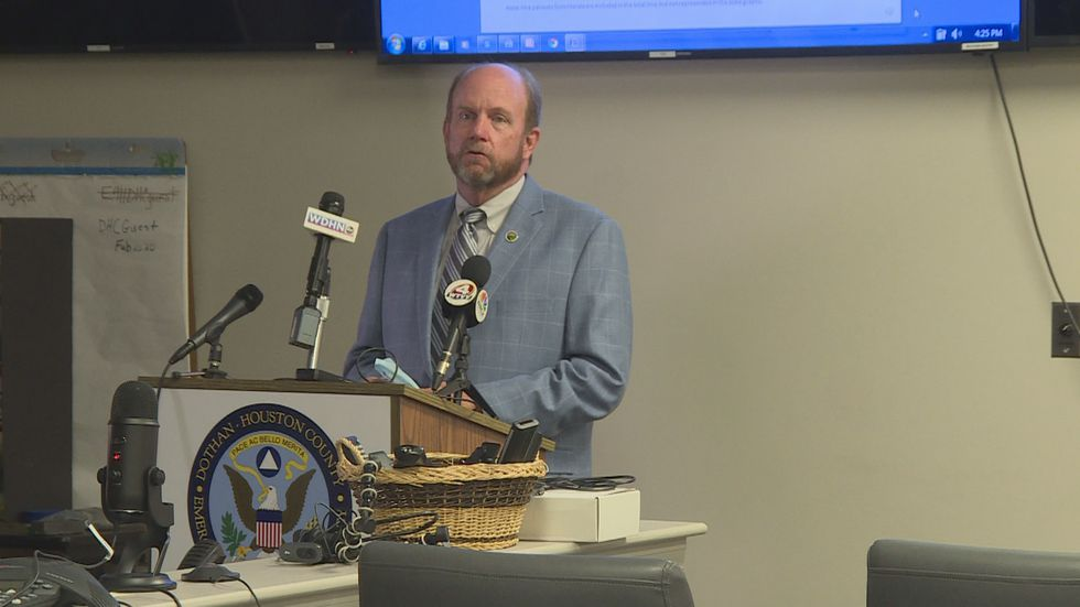 Houston County Chairman Mark Culver urges the use of face coverings in this May 28, 2020 photo.
