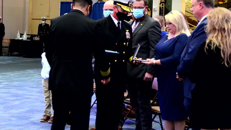 Ben and Sheila Watson accept the Purple Heart for their son, Kaleb, who was killed in a terror...