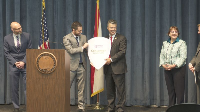 Alabama Attorney General Steve Marshall was presented with the Consumer's Champion award...