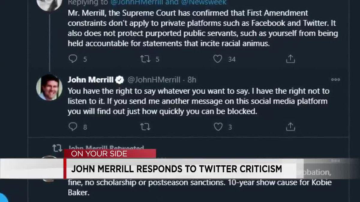 Ala. Sec. of State John Merrill responds to Twitter criticism