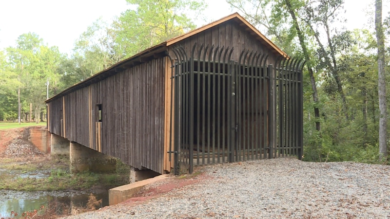 The historic Coheelee Creek covered bridge in Early Count, Georgia, suffered thousands of...