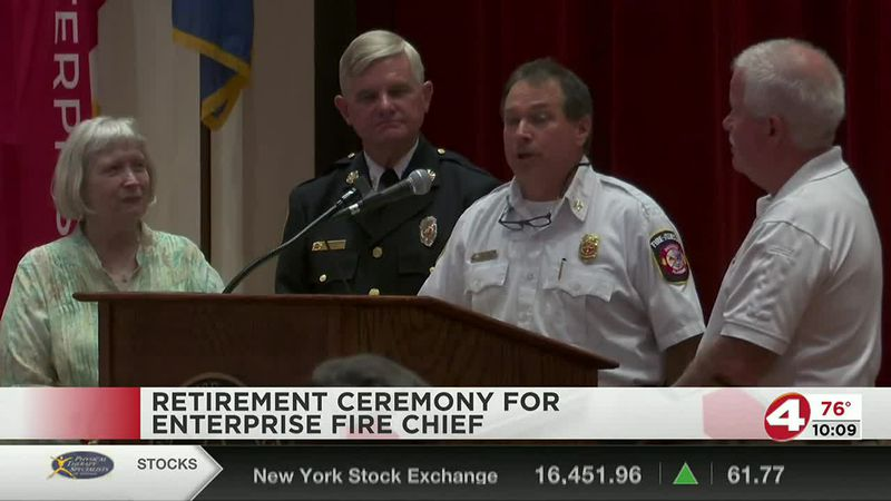 Enterprise Fire Chief Byron Herring recognized in retirement ceremony