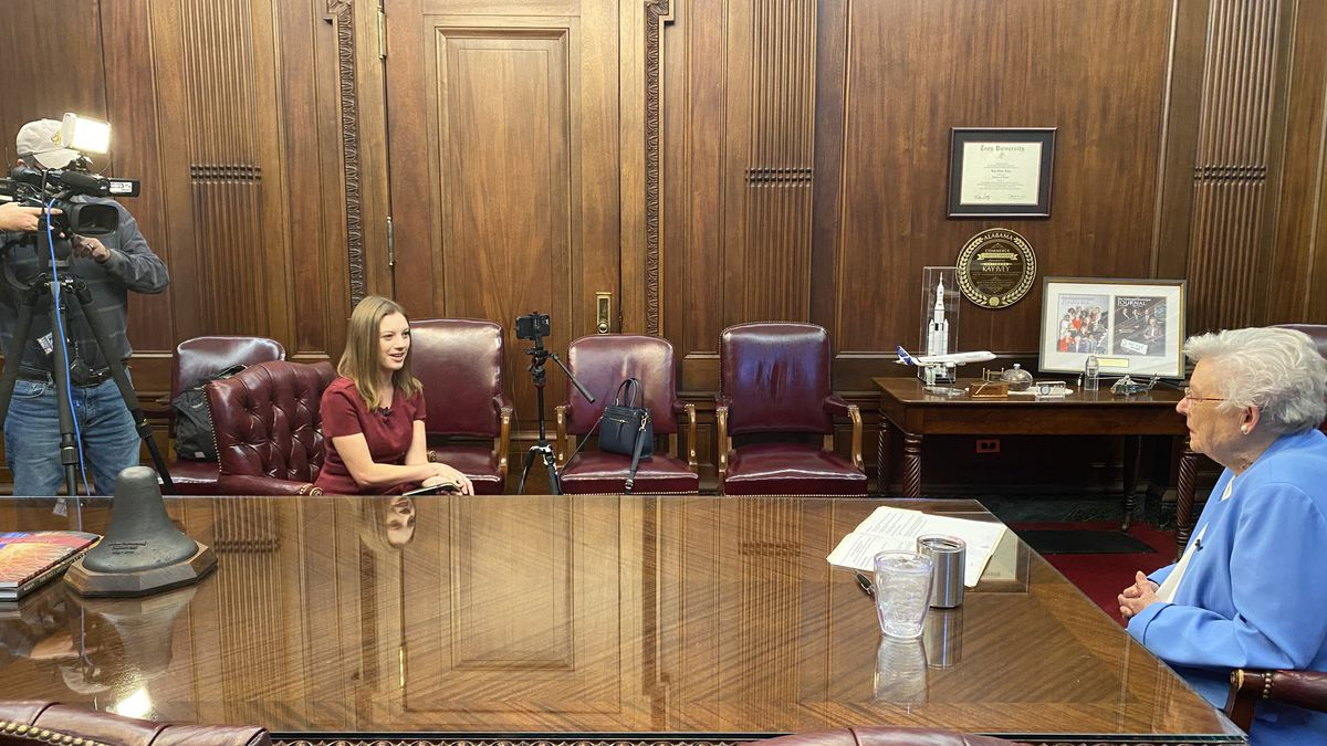 Gov. Kay Ivey sits for an interview in her office Wednesday morning where she announced she...