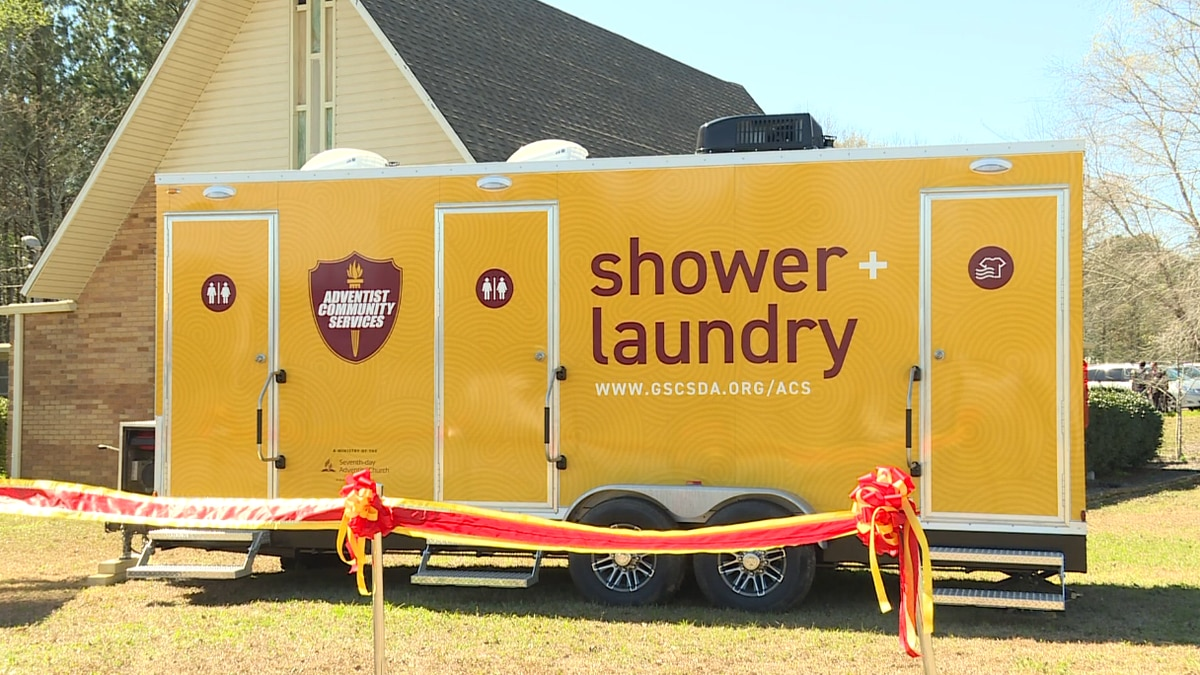 The mobile shower and laundry trailer that can be used to assist the homeless population or victims of natural disasters.