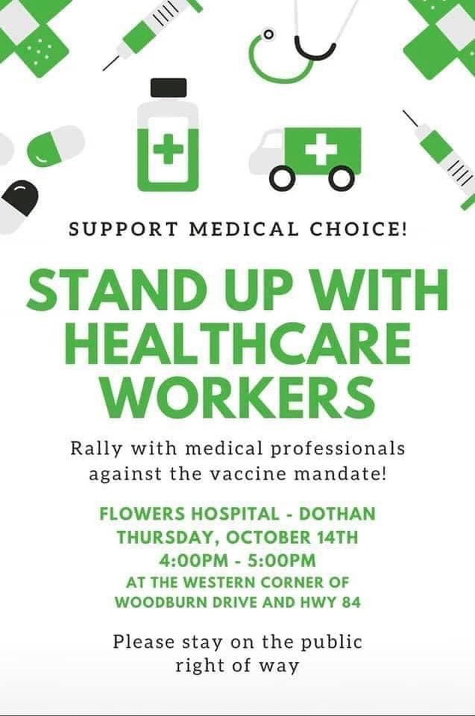 A flyer is circulating on social media asking people to rally against vaccine mandates for...