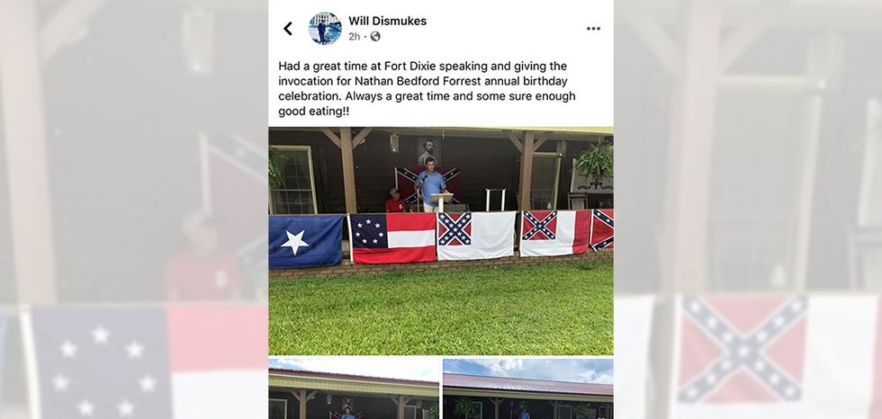 Alabama Rep. Will Dismukes, a Republican from Prattville, gave the invocation at the annual birthday celebration for Nathan Bedford Forrest, a leader in the Confederate Army and the first Grand Wizard of the Ku Klux Klan.
