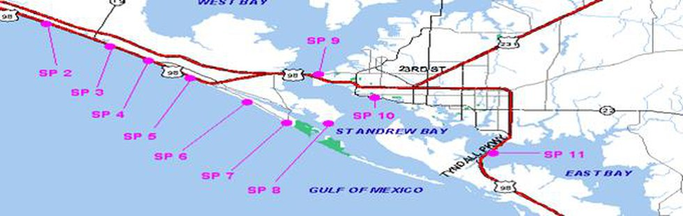 This map shows locations of testing for the Healthy Beaches Monitoring Program by the Bay...