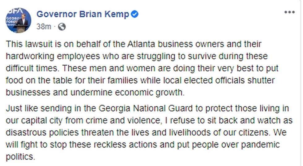 Georgia Governor Kemp's administration has gone to court seeking to block Atlanta from enacting COVID-19 restrictions and requiring residents to wear masks.