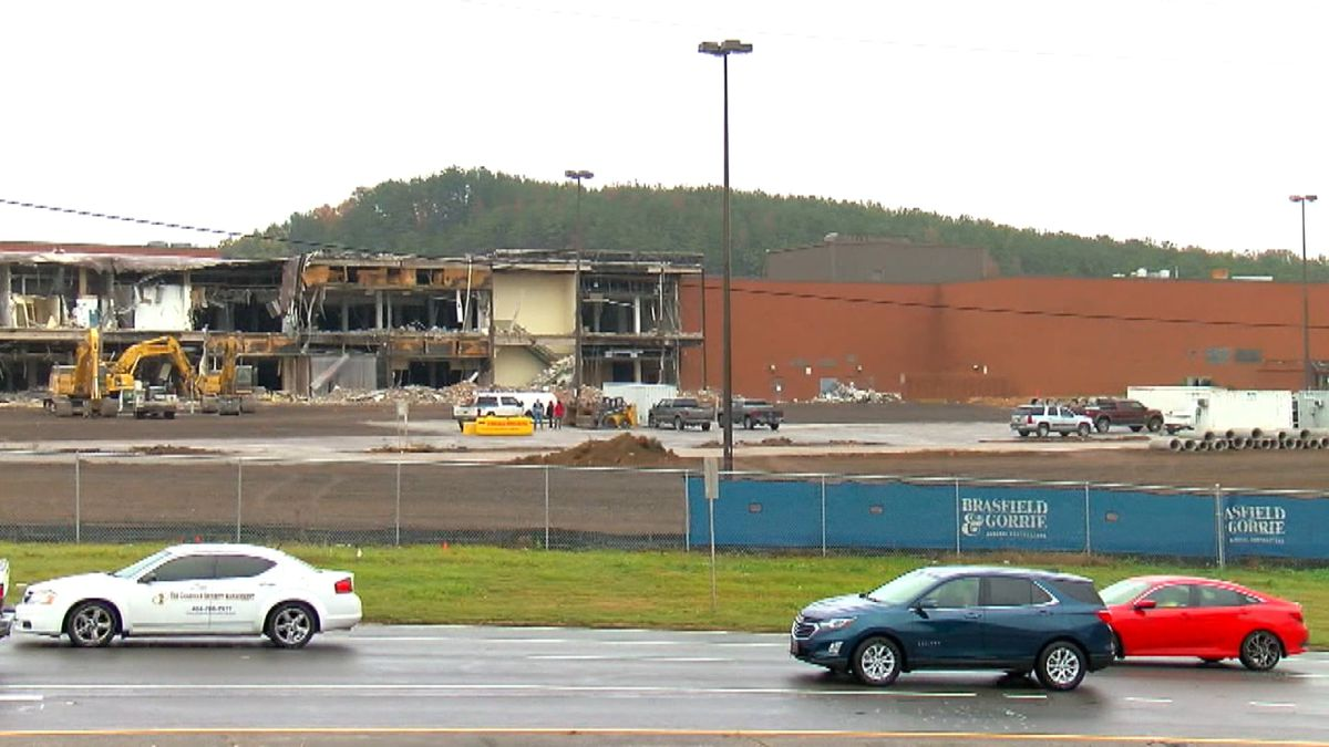 Demolition crews worked to bring down the old Century Plaza in east Birmingham. (Courtesy: WBRC)