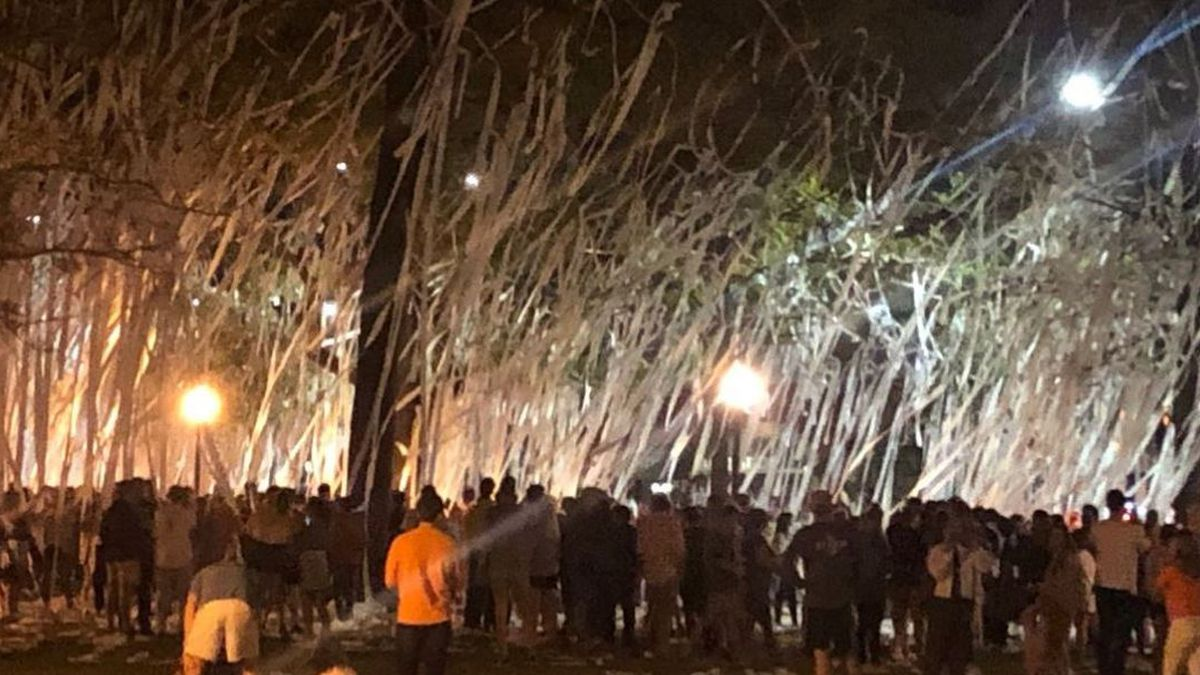 Fans have been coming from all around the state to roll Toomer's Corner after Auburn's advancements throughout the NCAA tournament.  (WSFA photo)