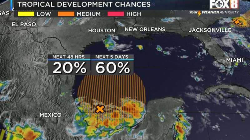 Chances increase for development of a tropical disturbance in the Gulf later this week.